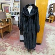 Vintage Faux Mink Black Full Length Coat – $60
