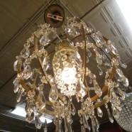 Vintage Antique Gilt Balloon Crystal Chandelier – $1200