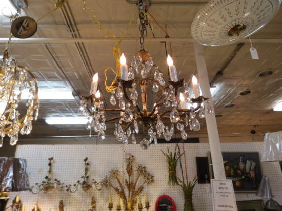 Vintage Antique Crystal and Brass 8 Arm Chandelier – $445