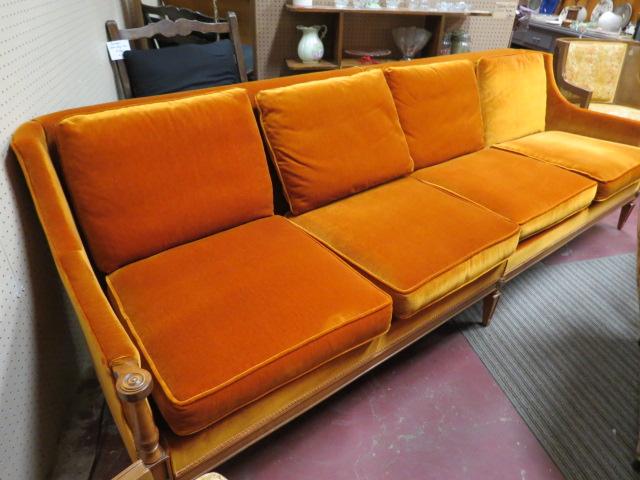 Vintage Mid Century Modern Orange Velvet 4 Cushion Sofa U2013 $450