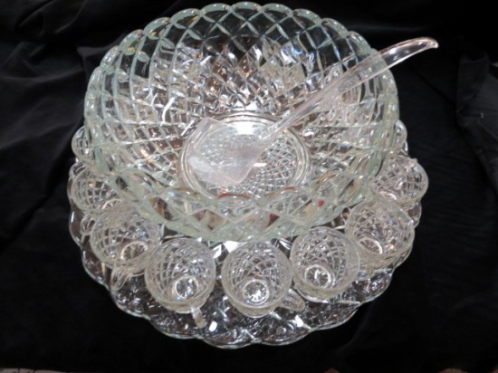 SALE! Vintage Mid-Century Modern Glass Punch Bowl Set – $120