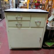 Vintage Antique Kitchen/Bath Cabinet with Enamel Top – $125