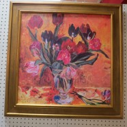 Vintage Mid-Century Modern Large Floral Oil Painting – $350