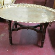 Vintage Antique Moroccan Brass Tray Top Table – $395