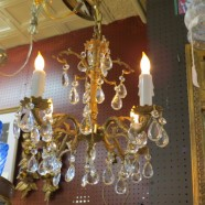 Vintage Antique Brass and Crystal Small 4 Arm Chandelier – $245