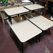 SALE! Vintage Mid-Century Modern Pair of Blonde/Black Step Side Tables – $105