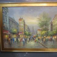 Vintage Antique Large Impressionist Paris Eiffel Tower Street Scene Oil Painting – $695