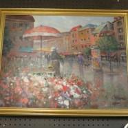 Vintage Antique Paris Flower Vendor Street Scene Oil Painting – $395