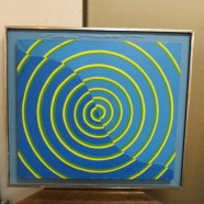 Vintage Mid-Century Modern Geometric Circles Oil Painting – $150