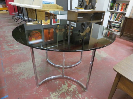 Vintage Mid-Century Modern Black Round Glass Dining Table Chrome Base – $395