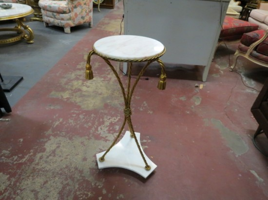 Vintage Antique White Marble/Gold Metal Rope Small Table/Pedestal – $225