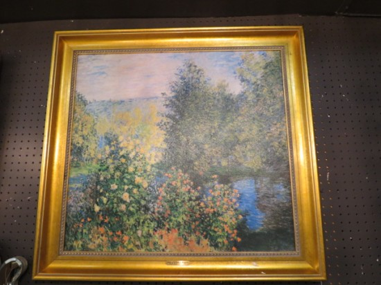 Vintage Antique Impressionist Landscape Oil Painting After Monet – $395
