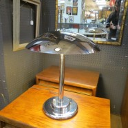 Vintage Mid-Century Modern Chrome Table Lamp with Large Dome Shade – $125