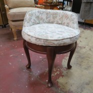 Vintage Antique French Style Walnut Vanity Chair – $125