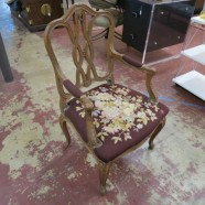 Vintage Antique French Style Carved Walnut Chair with Needlepoint Seat – $250