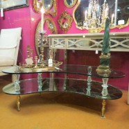 Vintage Mid-Century Hollywood Glam Glass and Mirror Coffee Table – $495