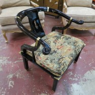 Vintage Mid-Century Modern Black Lacquer Chinese Occasional Chair – $175