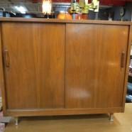 SALE! Vintage Mid-Century Modern 2 Door Walnut Cabinet – $116