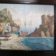 Vintage Antique Amalfi Coast Seaside Oil Painting on Canvas – $45