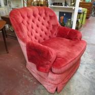 SALE!  Vintage Mid-Century Red Velvet Lounge Chair – $115