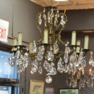 Vintage Antique Brass and Crystal 8 Light Chandelier – $475