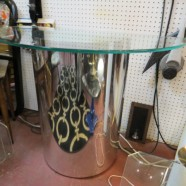 Vintage Mid Century Modern Chrome and Glass Demilune Console Table – $245