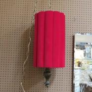 Vintage Mid Century Modern Red Velvet Swag Lamp c. 1960 – $110