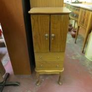 Vintage Antique Walnut Jewelry Cabinet on Legs – $95