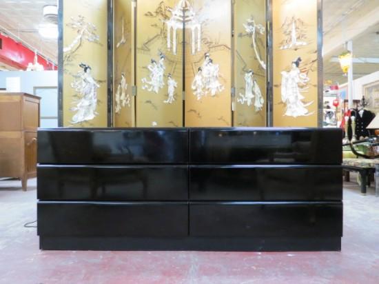 Vintage Mid-Century Modern Black Lacquer Credenza/Dresser – $495