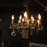 Vintage Antique Brass and Crystal 12 Arm Chandelier – $495