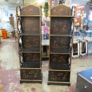 Vintage Antique Pair of Chinese Style Black and Gold Narrow Etageres – $595