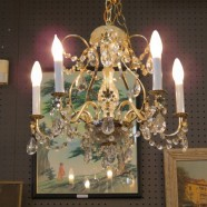 Vintage Mid Century Modern 5 Arm Brass and Crystal Chandelier – $295