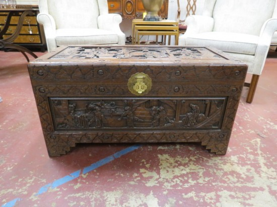 Vintage Antique Carved Wood Chinese Blanket Chest – $395