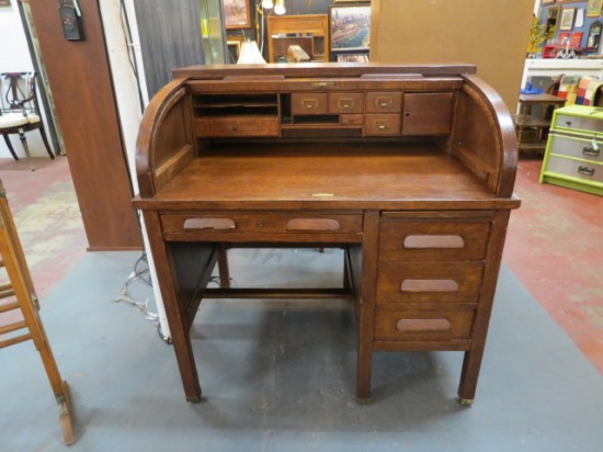 Vintage Antique Walnut Roll Top Desk – $225