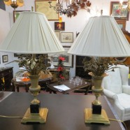 Vintage Antique Pair of Brass Bouquet of Roses Table Lamps – $600