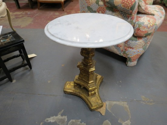 Vintage Antique Small Round Marble Top Pedestal Side Table – $165