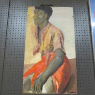 Vintage Mid Century Modern Oil Painting On Board of an African Man – $125