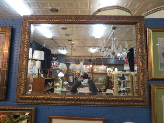 Vintage Antique Gold Frame Beveled Mirror – $125