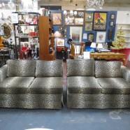 Vintage Mid Century Modern Glam Leopard Print Sectional Sofa Set – $1195