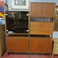 Vintage Mid Century Modern 2 Section Walnut Wall Unit – $695