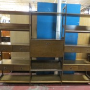 Vintage Mid Century Modern Walnut Cado Style 3 Section Wall Unit – $895