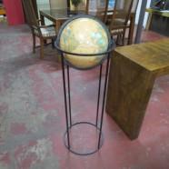 Vintage Mid Century Modern Paul McCobb Style World Globe on Iron Stand – $125