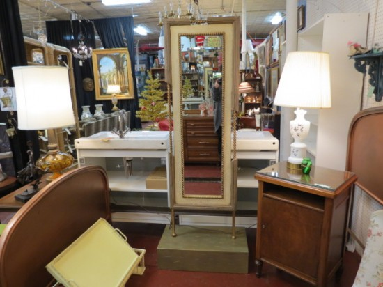 Vintage Antique Full Length Gilt Trim Mirror – $285