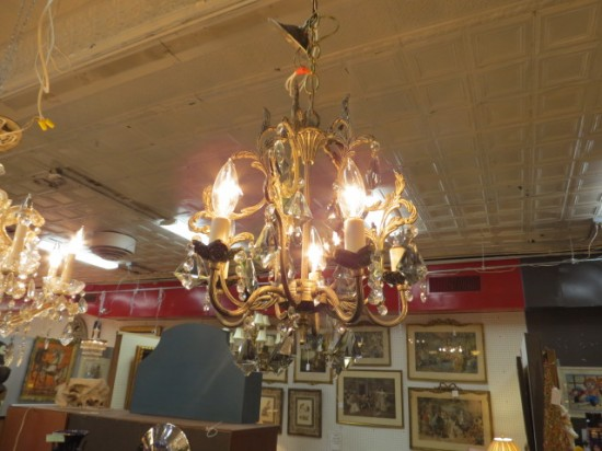Vintage Antique Small 5 Arm Brass and Crystal Chandelier – $295