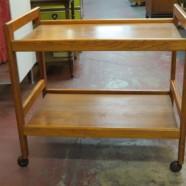 Vintage Mid Century Danish Modern Teak Bar Cart – $225