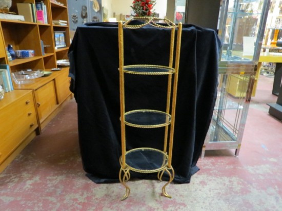 Vintage Antique French Style 3 Tier Glass and Gilt Metal Shelf Unit – $195