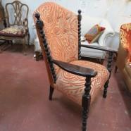 Vintage Antique Flemish Style Ebonzied Mahogany Armchair – $450