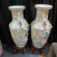 Vintage Antique Large Chinese Porcelain Vase and Stand – $495