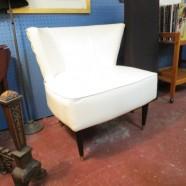 Vintage Mid Century Modern White Vinyl Lounge Chair – $95