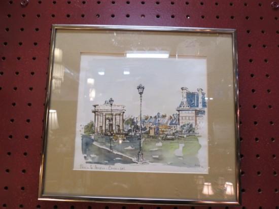 Vintage Mid Century Modern Paris Street Scene Watercolor – $60